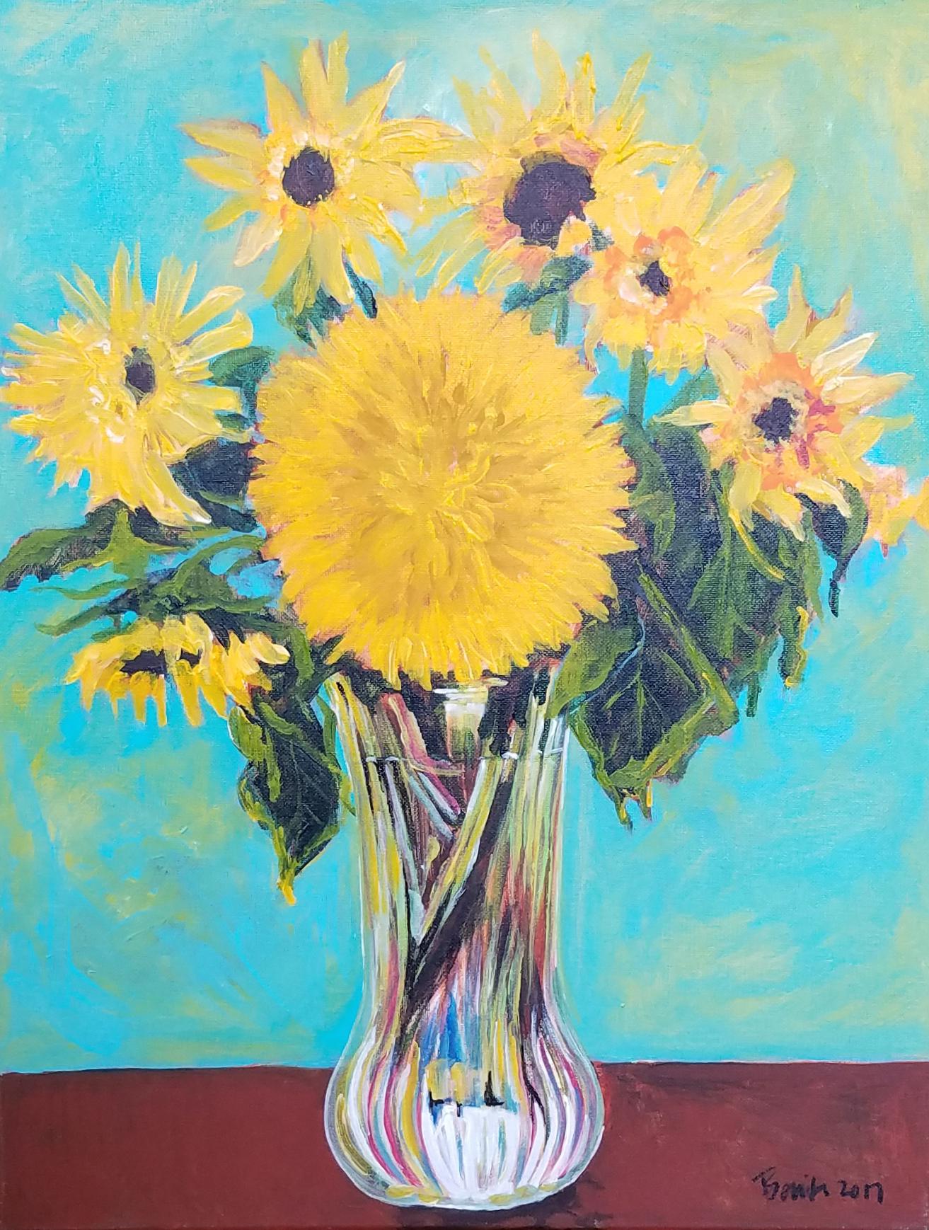 Benita Cole, Van Gogh Sunflowers, acrylic