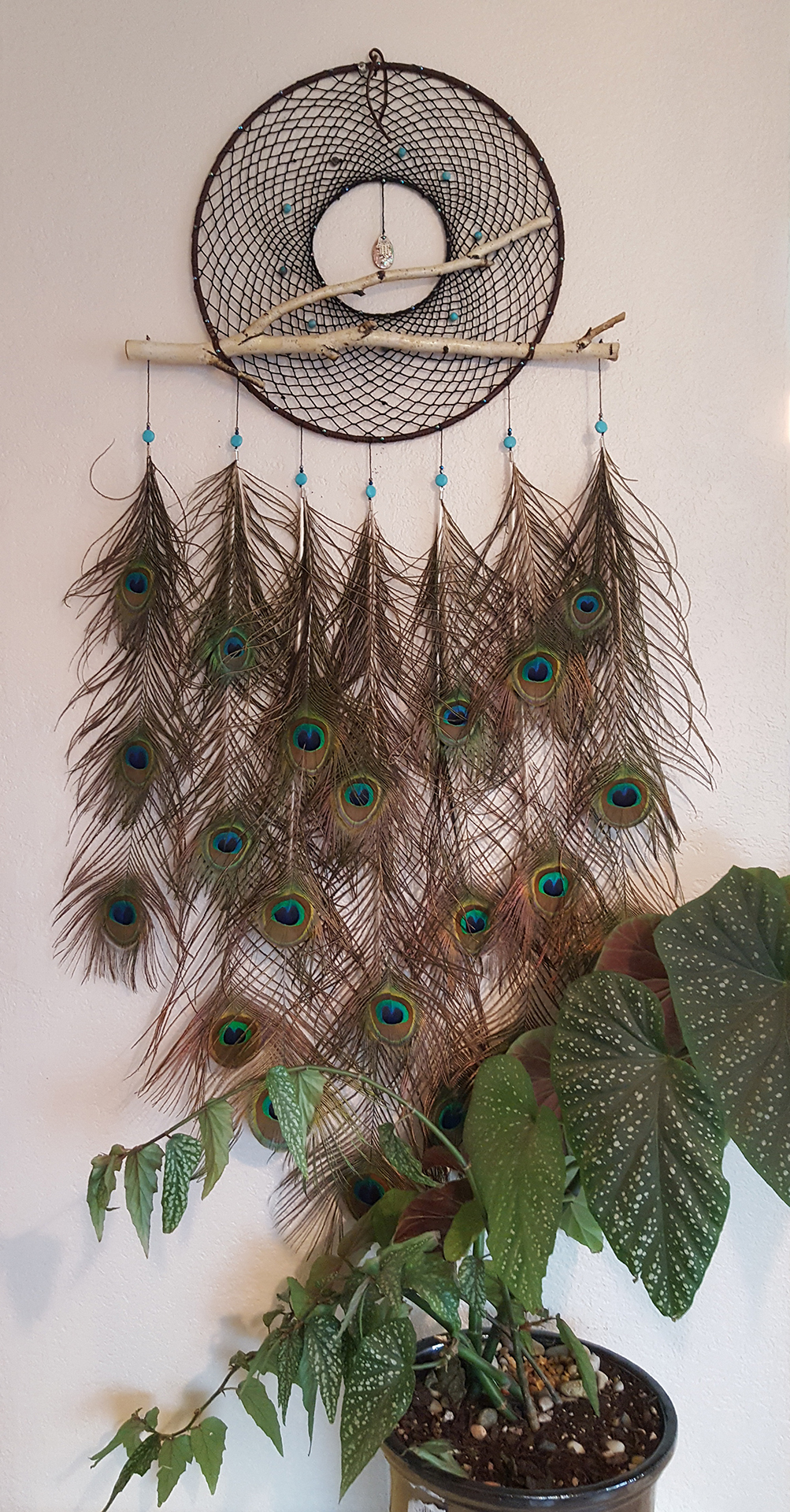 Raven Dimaggio, Peacock Dream Catcher, leather, feathers, metal