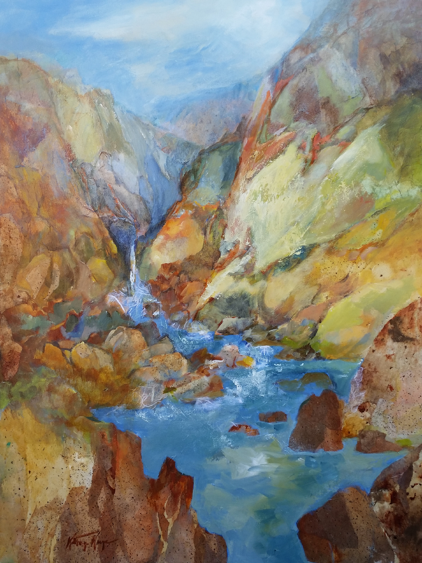 Kathryn Kaye, Rock Canyon, acrylic, collage