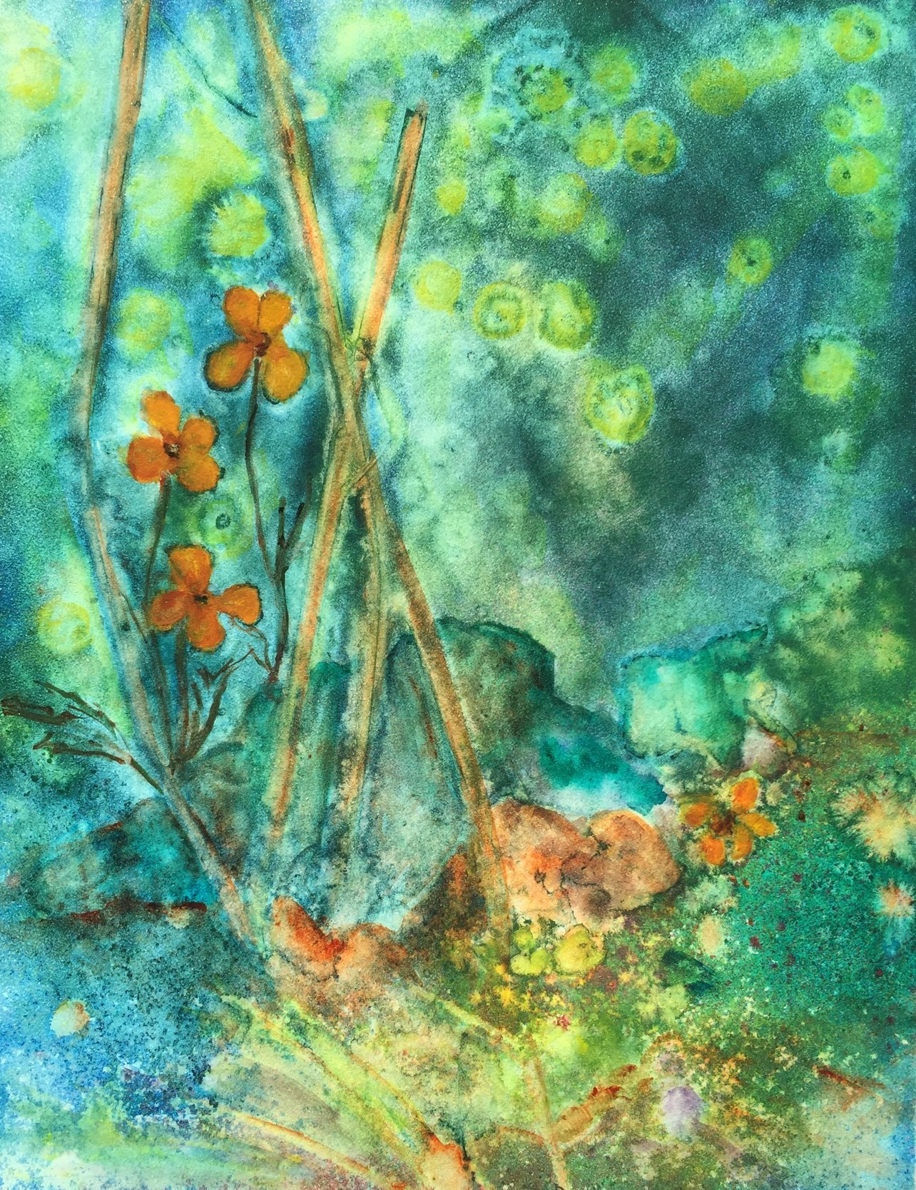 Ruth McCauley, Remembering Fireflies, watercolor, ink, acrylic