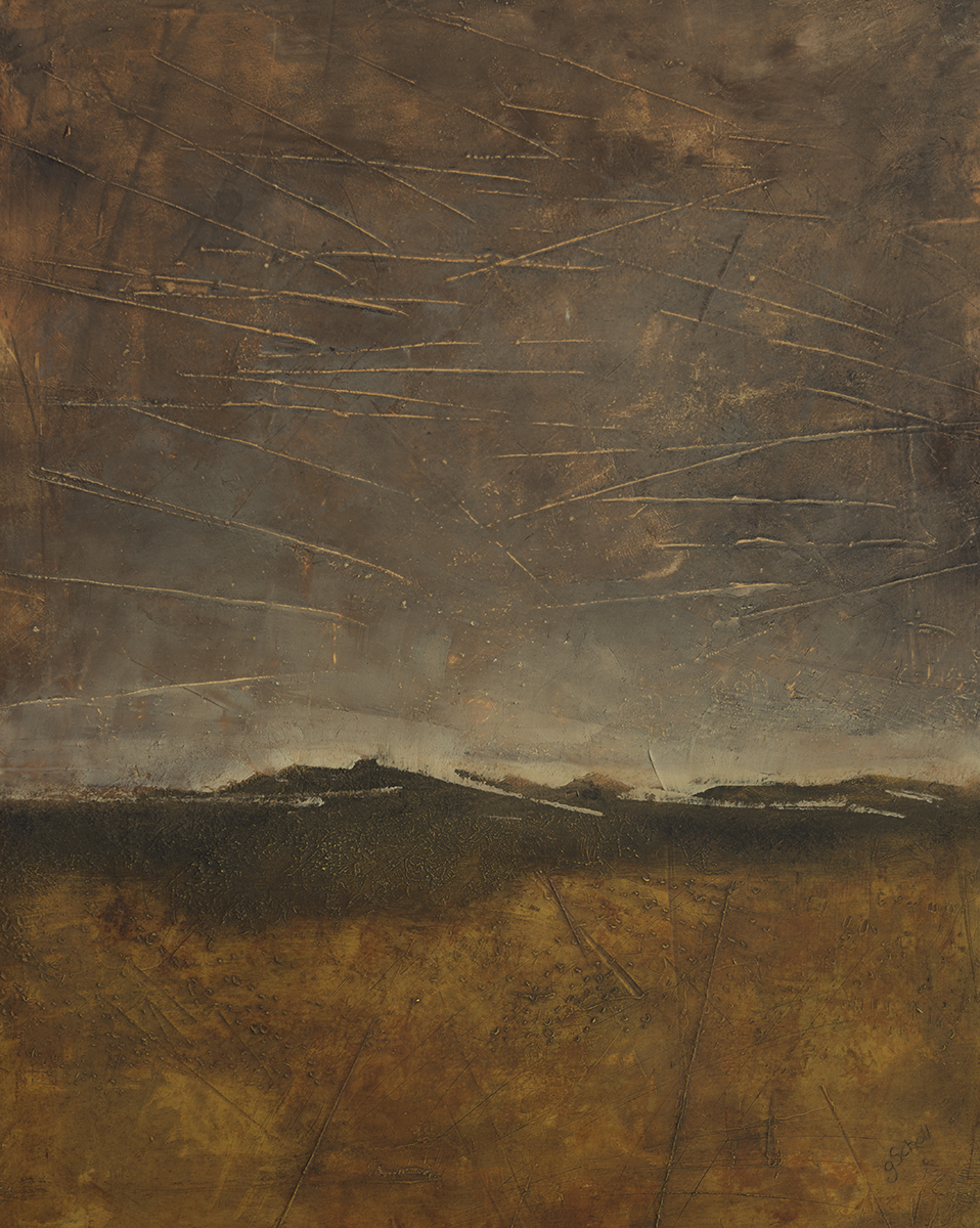 Gayle Scholl, Western Horizon, cold wax and oil on board